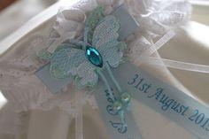 Personalised bride wedding garter