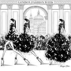 London Fashion Week 2016 by Megan Hess Megan Hess Illustration, Illustration Art, London Fashion Week 2015, Kerrie Hess, Arte Fashion, Fashion Sketches, Fashion Illustrations, Fashion Drawings, Illustration Fashion