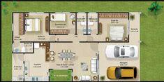 Plano de casa de un piso y tres dormitorios 002 Modern House Plans, Small House Plans, House Floor Plans, Home Design Plans, Plan Design, Design Design, Modern Mansion, House Blueprints, House Layouts