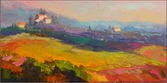 """Paint Dance: """"Morning in Umbria"""", 12x24, oil on canvas, vineyards, paintings of Umbria, Italy, Tuscany, rolling fields, plaette knife landscapes, maryanne jacobsen"""
