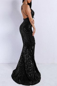 Buy Honey Couture LILLEY Black Sequin Low Back Mermaid Evening Gown Dress  at One Honey Australian 22f79555b