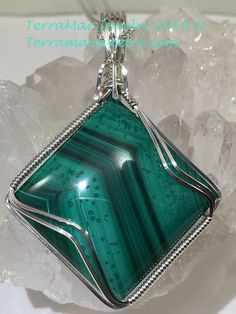 Malachite, Malachite Jewelry Pendant Necklace Stone Wire Wrapped in Argentium Silver, Gift Idea - This is a beautiful example of Zaire Malachite that I acquired from internationally known lapidary - Wire Pendant, Wire Wrapped Pendant, Wire Wrapped Jewelry, Pendant Jewelry, Pendant Necklace, Gold Pendant, Diamond Pendant, Wire Wrapped Stones, Macrame Necklace