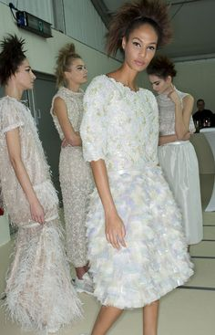 Joan Smalls and models backstage at Chanel Spring/Summer 2014 Couture during Paris Fashion Week.