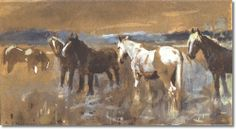 Alfred J Munnings - AJM - Horses In A Meadow 1897 - Original Size 4 x 7 Painting