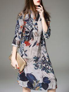 Gray Silk 3/4 Sleeve Shirt Dress