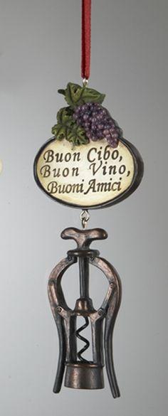 *Antique Corkscrew Ornament - Good Food, Good Wine, Good Friends (Italian)
