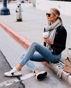 Denim with Golden Goose sneakers and black moto jacket Amy Jackson // Fashion Jackson ( Fashion Blogger Style, Look Fashion, Winter Fashion, Fashion Outfits, Sneakers Fashion, Woman Fashion, Spring Fashion, Sneakers Sale, Weekend Fashion