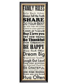 This list of family rules is a great reminder for kids and parents alike! Click above to buy the print for your home.