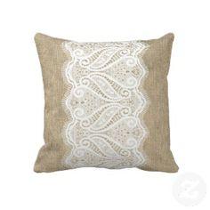 printed burlap | Modern Printed Burlap & Lace Cushion