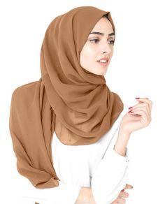 Toast Poly Georgette Hijab Casual Hijab Outfit, Hijab Chic, Skirt Fashion, Hijab Fashion, Fashion Outfits, Nude Scarves, Hijab Style Tutorial, Hijab Trends, Beautiful Hijab