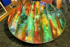 Your place to buy and sell all things handmade Funky painted round table top colorful round wood tables Round Wood Table, Round Table Top, Wood Tables, Diy Table Top, Table Top Design, Reclaimed Wood Art, Barn Wood, Door Wood, Wood Mosaic