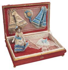 French All-Bisque Mignonette in Presentation Box  circa 1880. 5 1/4 (13 cm).