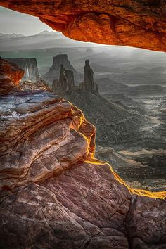 The view under the Mesa Arch in Canyonlands National Park, Utah