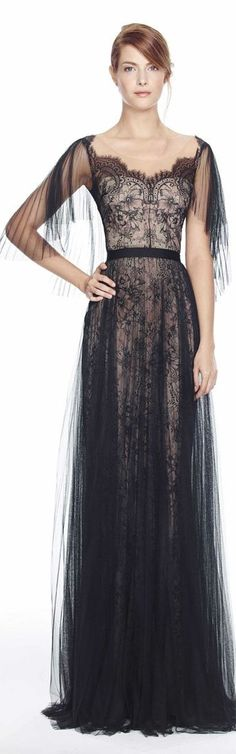 Marchesa Notte Spring 2014 - black gown with lace detail