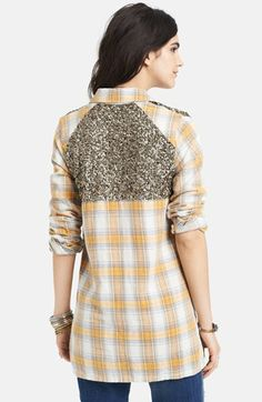 Free People 'Little Bit of Sugar' Sequin Plaid Tunic Shirt | Nordstrom