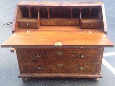 Superb Antique Continental Baroque 18th C Burl Walnut Fall Drop Front Desk | eBay