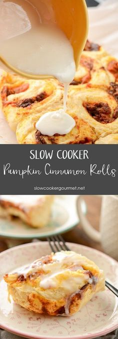 Slow Cooker Pumpkin Cinnamon Rolls - Slow Cooker Gourmet