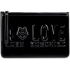 Love Moschino Clutch (£83) ❤ liked on Polyvore featuring bags, handbags, clutches, black, black handbags, zipper purse, love moschino, black clutches and black purse