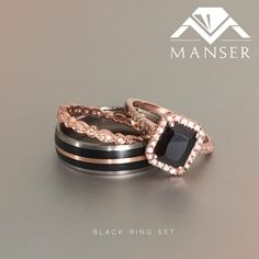 Hers is a gorgeous rose gold ring and band with emerald cut black centre stone and half eternity band. His is a Titanium base ring with black Teflon and rose gold inlay. Black Wedding Ring Sets, Wedding Rings Sets His And Hers, Black Diamond Wedding Rings, His And Hers Rings, Wedding Ring For Her, Matching Wedding Rings, Wedding Rings Vintage, Gold Wedding, Black Band Ring