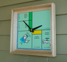 Wall Clock Recycled Monopoly Board and Scrabble by MissCourageous  - she has such neat ideas!