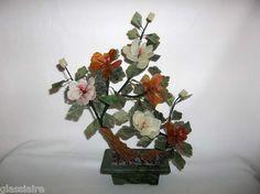 Vintage Chinese Jade Tree Flowers Gemstone Plant Asian Carved Stone MARBLE BASE
