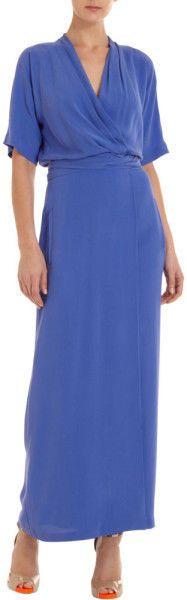 DVF for BARNEYS Diane Von Furstenberg Blue 'Glennis' Wrap Maxi Dress, Size 6-8 #DVF #WrapDress