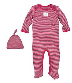 Bee Essentials Footed Coverall and Knot Top Hat Set in 100% Organic Cotton - Burts Bees Baby