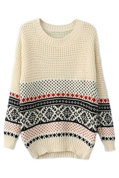 ROMWE Christmas Sweater Striped Heart & Snowflake White Jumper