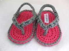 Baby Clothes: Pink & Gray Crocheted Baby Flip Flop Shoes