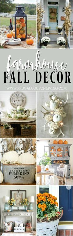 Inspiring Farmhouse Fall Decor on Frugal Coupon Living. Creative ideas for the Thanksgiving season including rustic metals, distressed woods, and orange and white pumpkins!