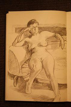 figure drawing, ebony pencil