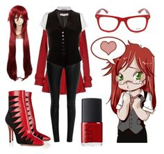 """""""grell outfit black butler :)"""" by allisonmiller20020812 ❤ liked on Polyvore featuring Muse, Charlotte Olympia, Yes Zee by Essenza, NARS Cosmetics, Calvin Klein, The Row and Yves Saint Laurent"""