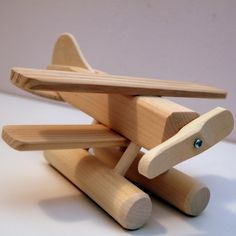 Wooden Sea Plane Toy by Thorpe Toys, Waterloo Ontario Wooden Projects, Wood Crafts, Wooden Plane, Making Wooden Toys, Airplane Decor, Kids Wood, Wood Toys, Educational Toys, Diy For Kids
