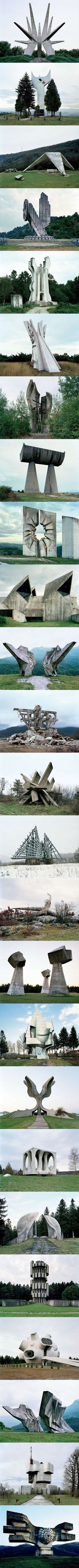 Abandoned monuments that look like they're from the future. Kosmaj,Serbia; Zenica, Bosnia; Sinj,Croatia; Nikšić,Montenegro; Sisak,Croatia; Ostra,Serbia; Brezovica,Serbia; Unknown; Kadinjača, Serbia; Kolašin,Montenegro; Tjentište,Bosnia; Makljen,Bosnia; Knin,Croatia; Korenica,Croatia; Košute,Croatia; Niš,Serbia; Sanski most,Bosnia; Jasenovac,Croatia; Ilirska Bistrica,Slovenia; Grmeč,Bosnia; Kozara,Bosnia; Kragujevac,Serbia; Tjentište,Bosnia; Petrova Gora,Croatia; Podgarić,Croatia