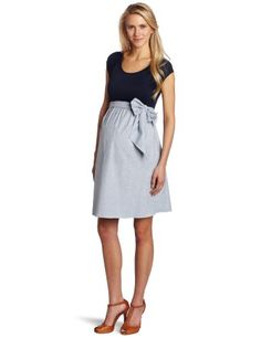 Maternal America Women's Maternity Scoop Neck Front Tie Dress, Navy Paisley