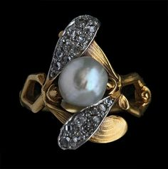 "ART NOUVEAU Mistletoe Ring c1900. Gold, pearl, diamonds. French.  ""Mistletoe qualities include good luck, protection & the power of healing. It is regarded as a symbol of good will & peace.""  The Tadema Gallery."