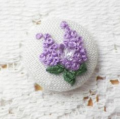 Handmade Embroidered Purple Lilac / Lilaces with Crystal Glass Butterfly Button / Embellishment / Embroidery, Purple Flowers, French Knots