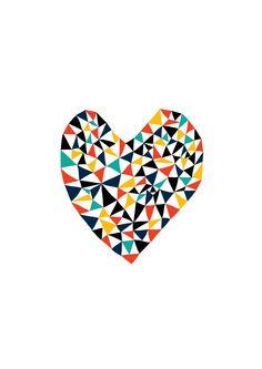 Geometric Love - Heart Art Print, Animal Illustration, Drawing, Illustration, Children Room, Kids room art, Nursery room Art, home decor by dekanimal on Etsy