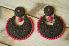 ,pink Polymer Clay Projects, Diy Clay, Funky Jewelry, Fancy Jewellery, Teracotta Jewellery, Craft From Waste Material, Terracotta Jewellery Designs, Terracotta Earrings, Biscuit