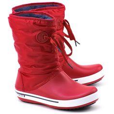 CROCS Crocband II.5 Lace Boot - Czerwone Nylonowe Śniegowce Damskie - Buty Kobiety Śniegowce   Mivo