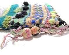 Fun Artistic Handwoven Art Pouch Bag Zipper Pouch Treasure Bag OOAK Art Bag