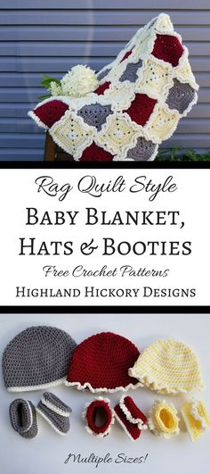 Crochet the Rag Quilt Style Baby Blanket, which was designed to mimic a rag quilt, just like Grandma used to make! The matching hats and booties patterns are available in 3 sizes and with the option of no ruffles like the grey set in the photo. Free easy patterns with lots of pictures!
