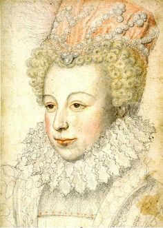 """Marguerite of Valois, by François Clouet, c. 1570. Her mother, Catherine de' Medici called her """"my affliction"""" and """"this creature""""."""