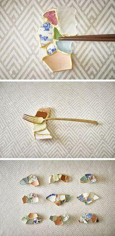 Morceaux de céramiques, femme artiste japonaise, Tomomi Kamushita,  chopstick rests, technique Kintsugi, récup #FredericCl