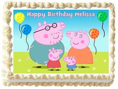"PEPPA+PIG+Edible+image+cake+topper+1/4+sheet+(10.5""+x+8"")"