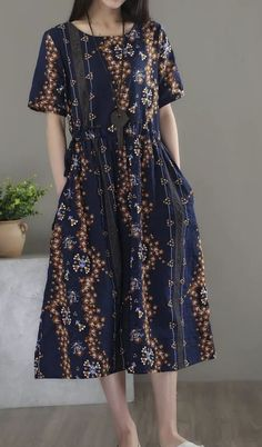 New women loose one size fit dress Bohemian Boho retro flower tunic pocket robe #Unbranded #Maxi #Casual