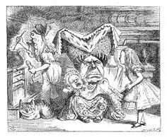 'The Duchess was sitting on a three-legged stool...'