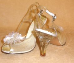1950's Clear, Lucite, & Rhinestone Evening High Heel Sling Back Shoes - Sz 7 1/2 #HighlightsofFashion #Heels