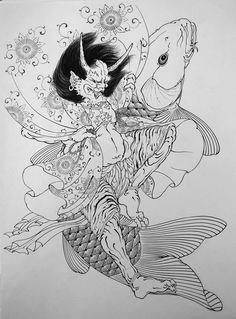 Koi, wido de marval, irezumi, japanese tattoo Japanese Art Styles, Traditional Japanese Tattoos, Japanese Prints, Japanese Tattoo Art, Japanese Tattoo Designs, Japanese Painting, Hannya Tattoo, Irezumi Tattoos, Japan Design