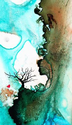 Love Has No fear mixed media painting by Sharon Cummings. I love the aqua blue/teal colors in this piece.